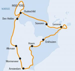 Boat & Bike Tour of Northern Holland - Map of Route