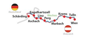 Danube Bike Tour, Scharding-Vienna - Map of the Route