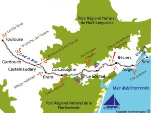 Canal du Midi Cycling Holiday from Toulouse to Sete - Map of the Route